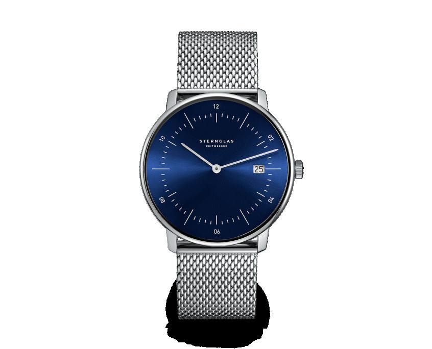 Uhr, Herrenarmbanduhr, Sternglas, NAOS, Sonnenschliff, blau