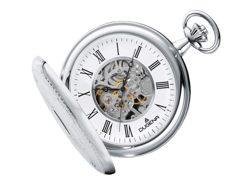 Uhr, Dugena, Taschenuhr, Savonette mit Doppelschanier