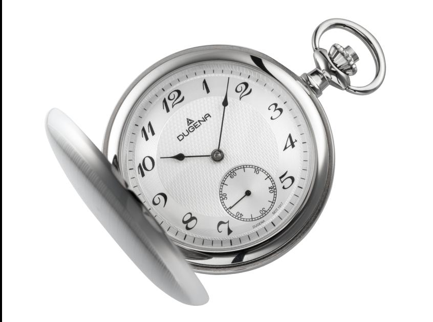 Uhr, Dugena, Taschenuhr, Savonette, matt, poliert