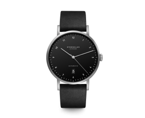 Uhr, Herrenarmbanduhr, Sternglas, Zirkel, Vintage, nero