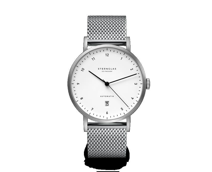 Uhr, Herrenarmbanduhr, Sternglas, Zirkel, weiß, Milanaise