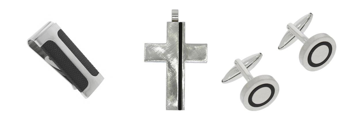 Manschettenknöpfe, Kreuzanhänger, Geldklammer aus Edelstahl